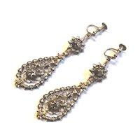 Antique Georgian Silver Gold Rose Cut Diamond Dangle Earrings