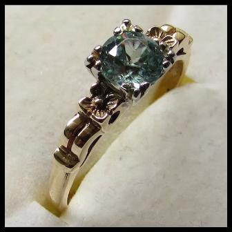 Vintage 1930s Natural Blue Zircon 14K Rose Gold Engagement Ring