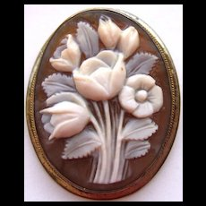Vintage Sterling Silver Carved Sardonyx Shell Cameo Pin Pendant Bouquet - Red Tag Sale Item