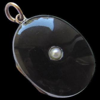 Victorian Rose Gold Silver Black Enamel Pearl Photo Locket Pendant