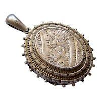 Antique Victorian Silver Locket Pendant Aesthetic Movement 1881