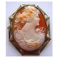 Vintage 14K Gold Filigree Carved Shell Cameo Pin Pendant