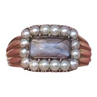 Antique Georgian 15K Yellow Gold Seed Pearl Hair Mourning Ring