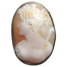 Antique Victorian Carved Shell Cameo Silver Brooch Thalia