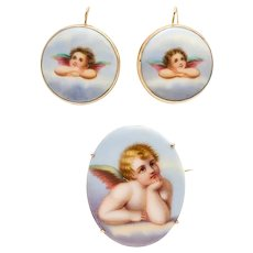 Antique Victorian Yellow Gold Porcelain Cherub Earrings Brooch Suite