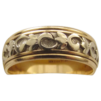 Vintage 14K Two Color White Gold Yellow Gold Art Carved Wedding Band