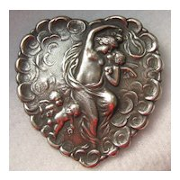 Antique Art Nouveau Silver Love's Kiss Nude Cherub Heart Brooch Pin