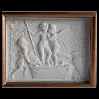 Framed Antique Bing & Grondahl Parian Bisque Royal Copenhagen Plaque Baby Dionysus Cupid Cherubs Putti