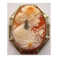 Art Deco 14K Gold Filigree Habille Diamond Shell Cameo Pin Pendant