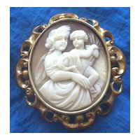 Antique Victorian Carved Shell Cameo Pin Pendant Demeter and Son