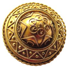 Antique Victorian 15K Yellow Gold Etruscan Target Brooch