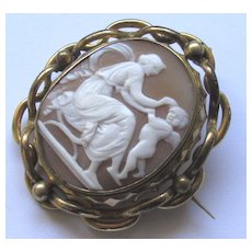 Antique Victorian Carved Shell Cameo Locket Brooch Cupid Eros
