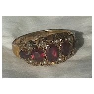 Antique Victorian 15K Gold Garnet Pearl Ring