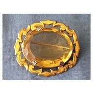 Victorian Citrine Glass Paste Gilt Brooch