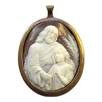 Antique Carved Shell Cameo Jesus and Saint John Pendant