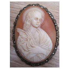 Vintage Silver Marcasite Shell Cameo Brooch Angel