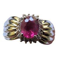 Estate 14K Yellow Gold Diamond Ruby Ring
