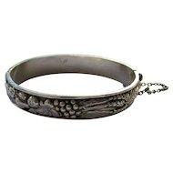 Vintage European Sterling Silver Fruits and Corps Bangle Bracelet