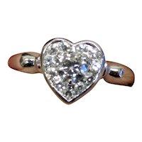 Estate 14K White Gold Diamond Heart Ring