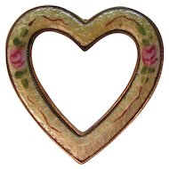 Vintage Guilloche Enamel Open Heart Brooch