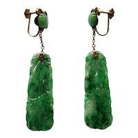 Vintage Green Carved Jadeite Jade Dangle Earrings