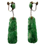 Vintage Green Carved Jadeite Jade Dangle Earrings