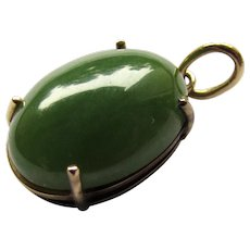 Vintage 10K Yellow Gold Oval Green Jade Pendant