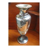 19th C Mercury Glass Silver Vase Tall