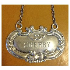 Sterling Silver Decanter Label Sherry