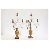 Pair Italian Painted Wood and Iron Candelabras