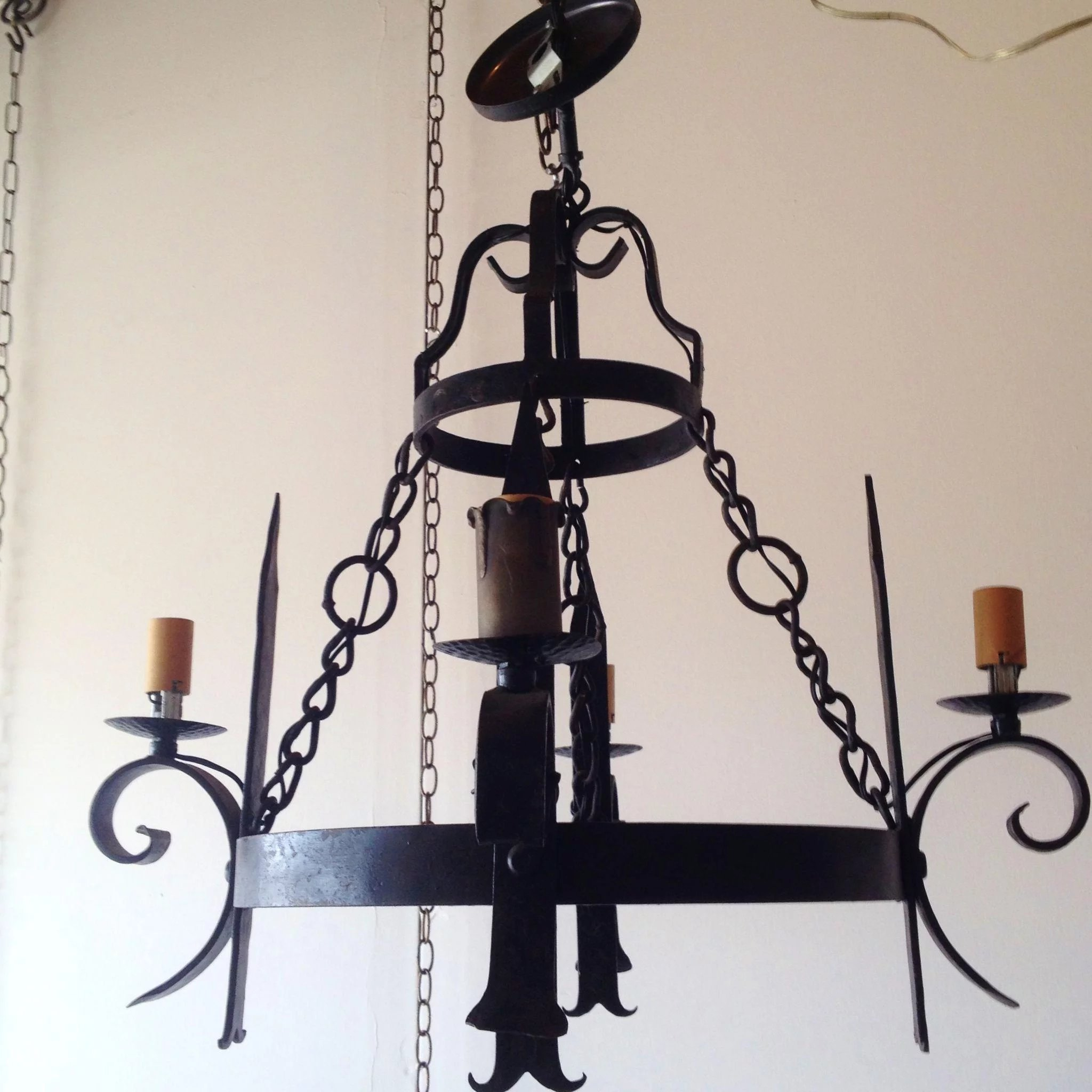 Vintage French Wrought Iron 2 Tier Chandelier Nobili