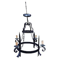 Vintage French Wrought Iron 2 tier Chandelier