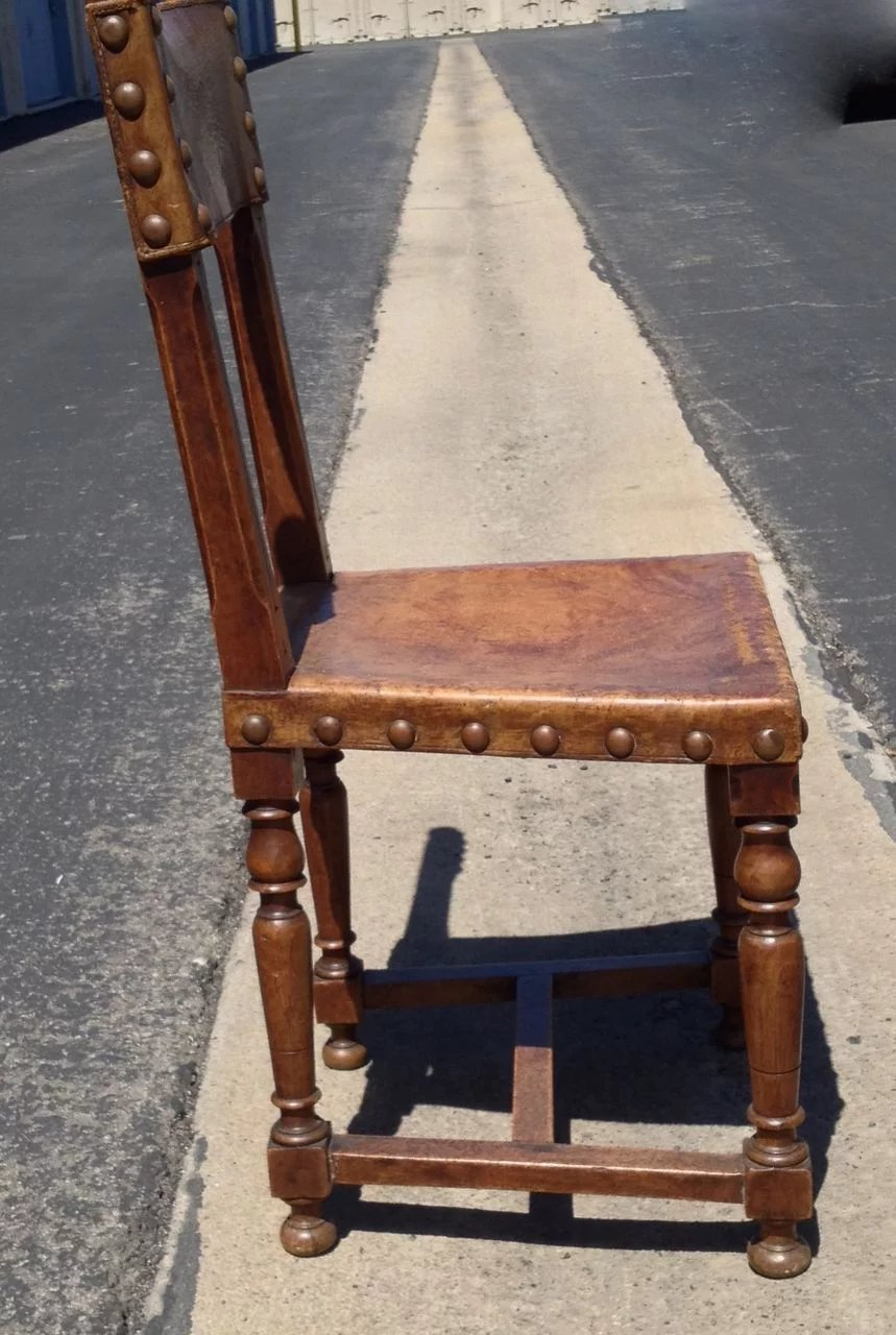 Antique Spanish Leather Hall Chair With Decorative Nail