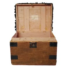 Antique English Sisal Traveling Case Trunk Hat Box Portmanteau