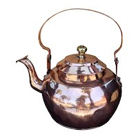 Large 19th C. Copper Water Kettle Pot Dovetailed