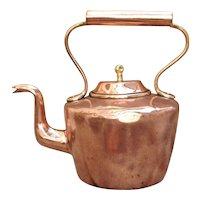 19th C. Copper Water Kettle Tea Pot Dovetailed