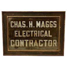 Industrial Trade Sign Handpainted Glass Advertising 1920's Folk Art