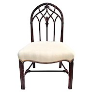 Carved Mahogany Chair signed Mayhews w upholstered Linen Seat ca.1910 Desk chair Gothic Style