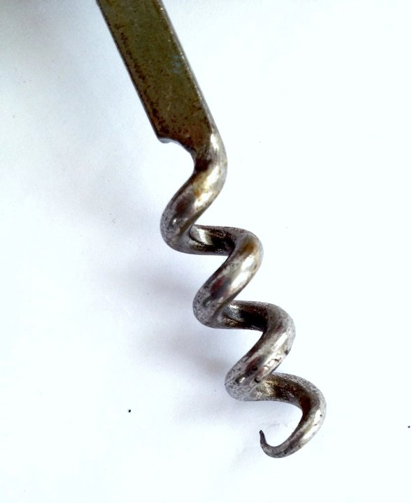 Vintage French Grapevine Corkscrew With Label   Tire Bouchon
