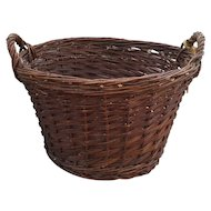 Vintage French Willow Gathering Basket