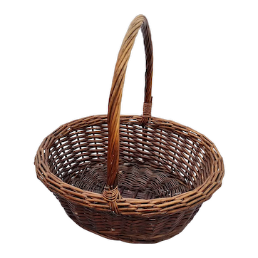 French Hand-Woven Willow Oval Flower or Market Basket w Handle Vintage