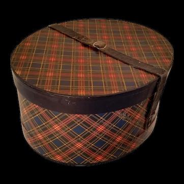 Tartan Hat Box Oval Early 1900's