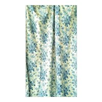 Antique French Floral Panel Prussian Blue and Cream Printed on Cotton ca 1880