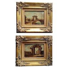 Pair Italian Oil Paintings w Gilt Wood Frames Vintage - Red Tag Sale Item