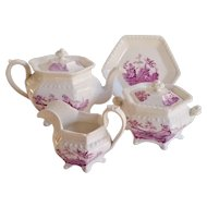 Early 19thC English 4pc Bone China Tea Service Puce