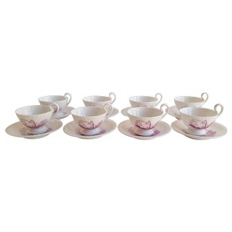 Early 19thC English 16pc Bone China Tea Cups and Saucers Printed in Puce
