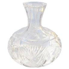 Antique Cut Crystal Wine Decanter Bottle, Ca 1900