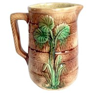 Antique Majolica Bark Barrel Pitcher 1800's
