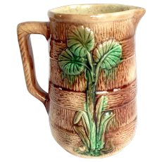 Antique Majolica Bark Barrel Pitcher 1800's