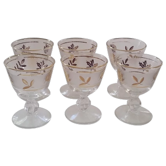 Set of 6 Mid Century Frosted Cocktail Glasses w Gold Trim